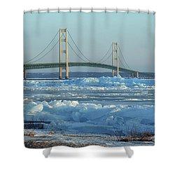 Mackinac Bridge In Ice 2161801 Shower Curtain