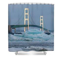 Mackinac Bridge In Ice 2161809 Shower Curtain