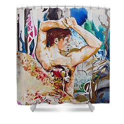 Shower Curtain featuring the painting Magic Loves The Hungry  by Rene Capone