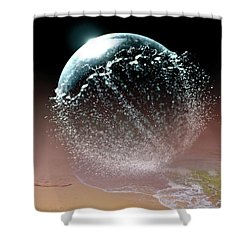 Magical Night Moment By The Seashore In Dreamland Shower Curtain