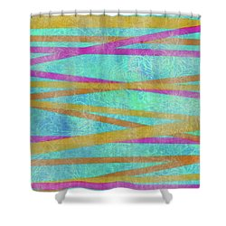 Malaysian Tropical Batik Strip Print Shower Curtain