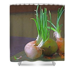 Shower Curtain featuring the mixed media Mango At Rest  by Lynda Lehmann