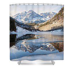 Shower Curtain featuring the photograph Maroon Bells Reflection Winter by Nathan Bush