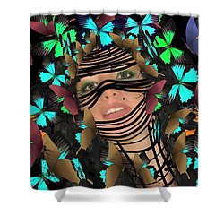 Mask Of Butterflies And Bondage Shower Curtain