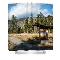 Mazama Barn Trail And Bench Shower Curtain