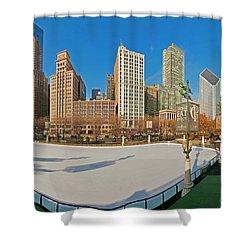 Mccormick Tribune Plaza Ice Rink And Skyline   Shower Curtain