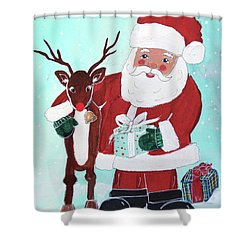 Shower Curtain featuring the painting Merry Christmas Santa Reindeer by Robin Maria Pedrero