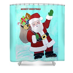 Shower Curtain featuring the painting Merry Christmas Santa With Toy Sack by Robin Maria Pedrero