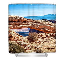 Shower Curtain featuring the photograph Mesa Arch by Andy Crawford