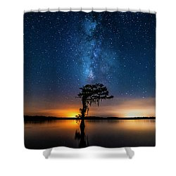 Shower Curtain featuring the photograph Milky Way Swamp by Andy Crawford