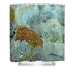 Shower Curtain featuring the mixed media Mineral Medley 12 by Lynda Lehmann
