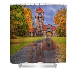 Shower Curtain featuring the photograph Mohonk Preserve Gatehouse  Ny Fall  by Susan Candelario