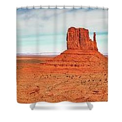 Shower Curtain featuring the photograph Monument Valley Panorama by Andy Crawford
