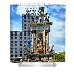 Shower Curtain featuring the photograph Monumental Fountain In Barcelona by Eduardo Jose Accorinti
