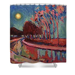 Moon Night At The Canal Shower Curtain