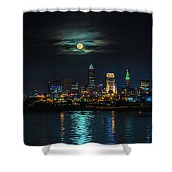 Moon Over Cleveland  Shower Curtain