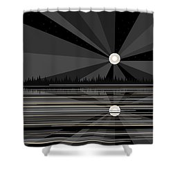 Moonrise In Black And White Shower Curtain