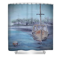 Moored Sailboat Shower Curtain
