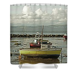 Morecambe. Boats On The Shore. Shower Curtain