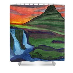 Mountain And Waterfall In The Rays Of The Setting Sun Shower Curtain