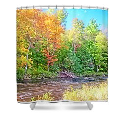 Mountain Stream In Early Autumn Shower Curtain