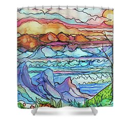 Mountains And Sea Shower Curtain