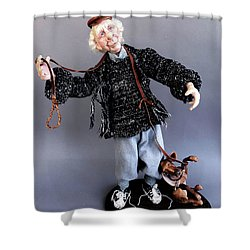 Mr. Wiggles And The Dog Walker Shower Curtain