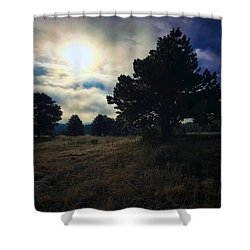 Shower Curtain featuring the photograph Murky Atmosphere Elk Meadow by Dan Miller