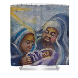 Shower Curtain featuring the painting Nativity by Saundra Johnson