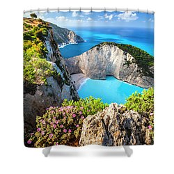 Navagio Bay Shower Curtain