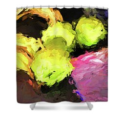 Neon Apples With Bananas Shower Curtain