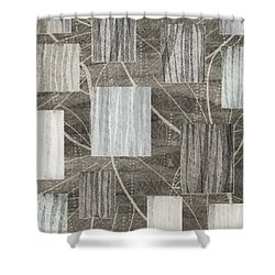 Neutral Leaf Print Squares Cream Shower Curtain