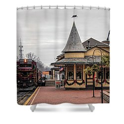 Shower Curtain featuring the photograph New Hope Train Station At Christmas by Kristia Adams