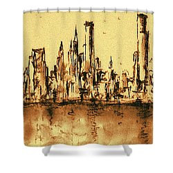 New York City Skyline 79 - Water Color Drawing Shower Curtain