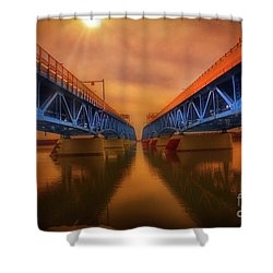 North Grand Island Bridge Shower Curtain