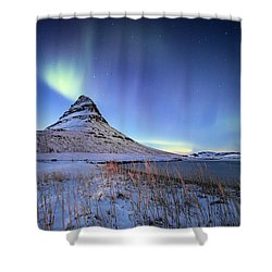 Shower Curtain featuring the photograph Northern Lights Atop Kirkjufell Iceland by Nathan Bush