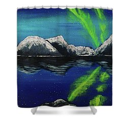 Shower Curtain featuring the painting Northern Lights  by Jennah Lenae