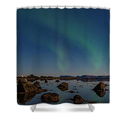 Northern Lights Over A Swamp  Shower Curtain