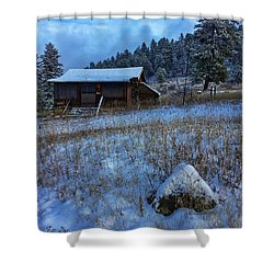 Shower Curtain featuring the photograph November Cabin by Dan Miller