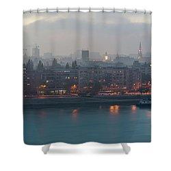 Novi Sad Night Cityscape Shower Curtain