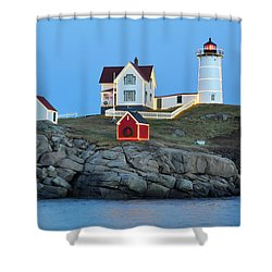 Nubble Light Holiday Glow Shower Curtain