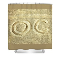 Shower Curtain featuring the photograph O C In The Ocean City Sand by Bill Swartwout Fine Art Photography