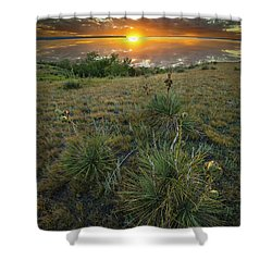 Shower Curtain featuring the photograph Oahe Sunset  by Aaron J Groen