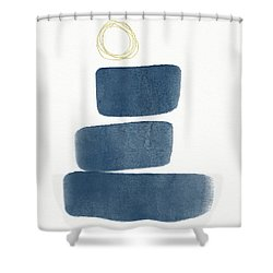 Shower Curtain featuring the mixed media Ocean Zen 3- Art By Linda Woods by Linda Woods