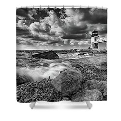 Shower Curtain featuring the photograph October Morning At Marshall Point In Black And White by Rick Berk