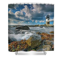 Shower Curtain featuring the photograph October Morning At Marshall Point by Rick Berk