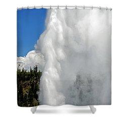 Old Faithful With Steam And Vapor Shower Curtain