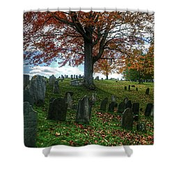 Old Hill Burying Ground In Autumn Shower Curtain