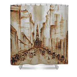 Old Philadelphia City Hall 1920 - Pencil Drawing Shower Curtain