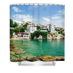 Old Town View Of Skiathos Island, Sporades, Greece.  Shower Curtain